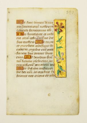 FROM A BOOK OF HOURS IN LATIN. INDIVIDUAL ILLUMINATED VELLUM MANUSCRIPT LEAVES WITH PANEL BORDERS