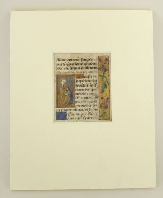 TEXT FROM THE SUFFRAGES. AN ILLUMINATED VELLUM MANUSCRIPT LEAF WITH SMALL MINIATURE OF ST. ANNE...