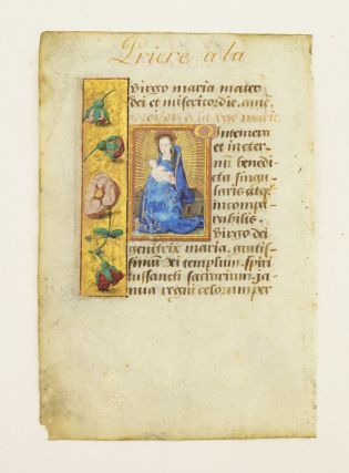 "TEXT FROM ""O INTEMERATA."" AN ILLUMINATED VELLUM MANUSCRIPT LEAF WITH A. SMALL MINIATURE FROM A...."