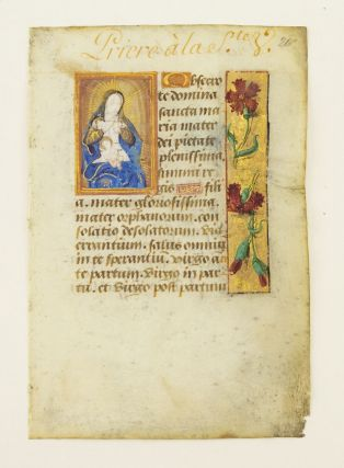 TEXT FROM OBSECRO TE. AN ILLUMINATED VELLUM MANUSCRIPT LEAF WITH A. SMALL MINIATURE FROM A. BOOK...