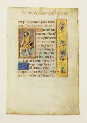 TEXT FROM THE SUFFRAGES. AN ILLUMINATED VELLUM MANUSCRIPT LEAF WITH SMALL MINIATURES OF SAINTS...