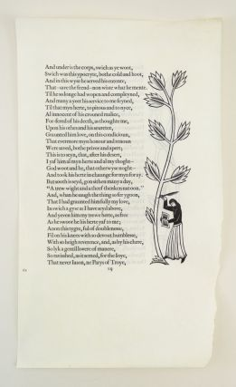 A VELLUM PROOF LEAF FROM THE GOLDEN COCKEREL PRESS CANTERBURY TALES. PRINTED LEAVES - VELLUM,...