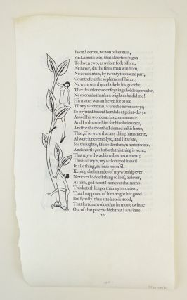 A VELLUM PROOF LEAF FROM THE GOLDEN COCKEREL PRESS CANTERBURY TALES.