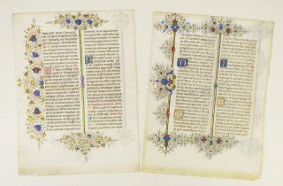 OFFERED INDIVIDUALLY TWO VERY FINE ILLUMINATED VELLUM MANUSCRIPT LEAVES IN LATIN, FROM THE...