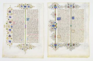 OFFERED INDIVIDUALLY THREE VERY FINE ILLUMINATED VELLUM MANUSCRIPT LEAVES IN LATIN, FROM THE...