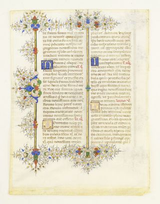 FROM THE LLANGATTOCK BREVIARY A VERY FINE ILLUMINATED VELLUM MANUSCRIPT LEAF IN LATIN