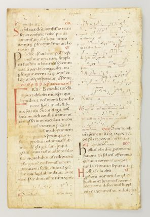 TEXT FROM PART OF THE FEAST OF SAINT FELIX. LEAF FROM AN EARLY NOTED MISSAL.