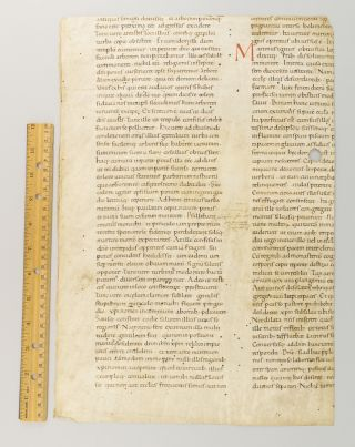DE VITA SANCTI MARTINI. PROBABLY FROM A. LECTIONARY MOST OF AN EARLY LEAF IN LATIN, WITH THE...