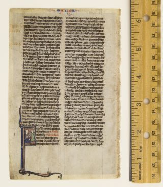 OPENING OF II MACCABEES. FROM A. BIBLE IN LATIN AN ILLUMINATED VELLUM MANUSCRIPT LEAF WITH AN...