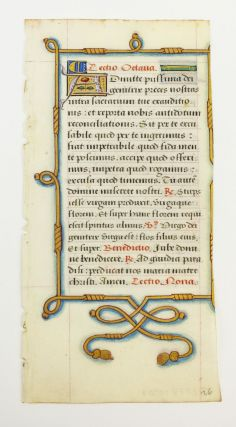 A VERY FINE ILLUMINATED VELLUM MANUSCRIPT LEAF FROM A. BOOK OF HOURS IN LATIN