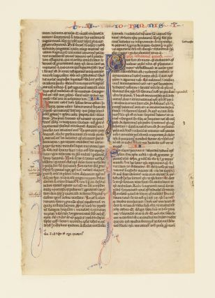 TEXT FROM THE FIRST EPISTLE OF JOHN. FROM A. PORTABLE BIBLE IN LATIN AN ILLUMINATED VELLUM...