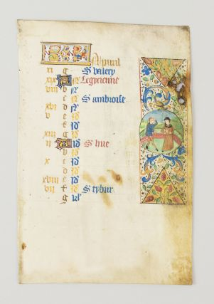 THE MONTH OF APRIL. FROM A. BOOK OF HOURS IN LATIN AND FRENCH AN ILLUMINATED VELLUM MANUSCRIPT...