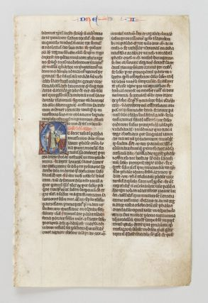 TEXT FROM II EZRA. FROM A. BIBLE IN LATIN AN ILLUMINATED VELLUM MANUSCRIPT LEAF WITH AN...