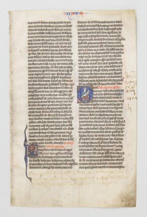 TEXT FROM MICAH AND NAHUM. AN ILLUMINATED VELLUM MANUSCRIPT LEAF WITH AN HISTORIATED INITIAL FROM A. BIBLE IN LATIN.