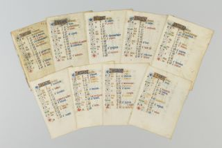 THE MONTHS OF JANUARY THROUGH AUGUST, PLUS OCTOBER. OFFERED TOGETHER NINE ILLUMINATED VELLUM MANUSCRIPT CALENDAR LEAVES, FROM A. BOOK OF HOURS IN LATIN AND FRENCH.