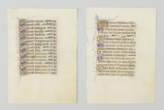 TEXTS FROM THE OFFICE OF THE DEAD AND THE LITANY. OFFERED INDIVIDUALLY TWO ILLUMINATED VELLUM MANUSCRIPT LEAVES, FROM A. BOOK OF HOURS IN LATIN.