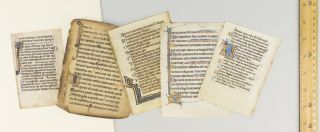 WITH SPECIMENS IN VARIOUS STYLES AND SCRIPTS. OFFERED AS A. GROUP FIVE ILLUMINATED VELLUM MANUSCRIPT LEAVES FROM PSALTERS IN LATIN.