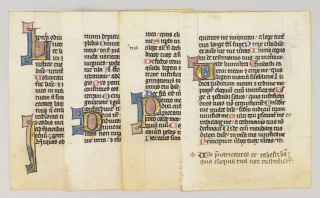 OFFERED INDIVIDUALLY FOUR ILLUMINATED VELLUM MANUSCRIPT LEAVES WITH DECORATIVE INITIALS FROM A....