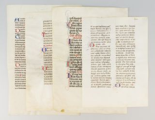 OFFERED AS A. GROUP FOUR VELLUM MANUSCRIPT LEAVES FROM VARIOUS MISSALS.