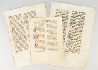 OFFERED AS A. GROUP THREE VELLUM MANUSCRIPT LEAVES FROM DIFFERENT MISSALS.