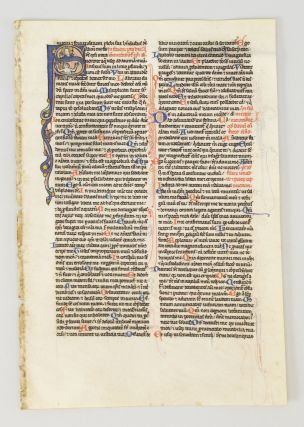 TEXT FROM PSALM 11. FROM A. PORTABLE BIBLE IN LATIN AN ILLUMINATED VELLUM MANUSCRIPT LEAF WITH AN...