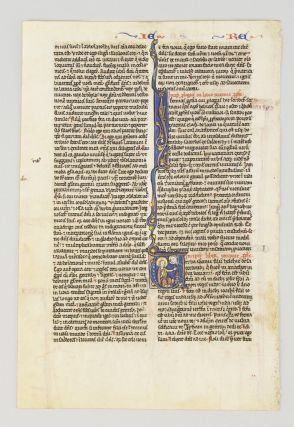 TEXT FROM END OF ISAIAH AND BEGINNING OF JEREMIAH. FROM A. PORTABLE BIBLE IN LATIN AN ILLUMINATED...