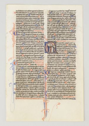 TEXT FROM PSALM 97. FROM A. PORTABLE BIBLE IN LATIN AN ILLUMINATED VELLUM MANUSCRIPT LEAF WITH AN...