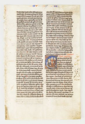 TEXT FROM II AND III KINGS. FROM A. BIBLE IN LATIN AN ILLUMINATED VELLUM MANUSCRIPT LEAF WITH AN...