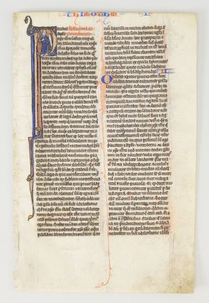 TEXT FROM I TIMOTHY. FROM A. BIBLE IN LATIN AN ILLUMINATED VELLUM MANUSCRIPT LEAF WITH AN HISTORIATED INITIAL.
