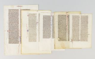 OFFERED AS A. GROUP FIVE VELLUM MANUSCRIPT LEAVES FROM VARIOUS POCKET BIBLES IN LATIN.