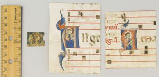 TWO FROM AN ANTIPHONER AND ONE FROM A WORK ON CANON LAW. OFFERED AS A. GROUP THREE SMALL...