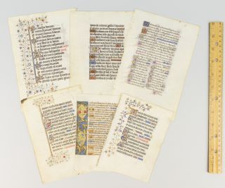 OFFERED AS A. GROUP SIX FINE ILLUMINATED MANUSCRIPT LEAVES ON VELLUM FROM VARIOUS BOOKS OF HOURS.