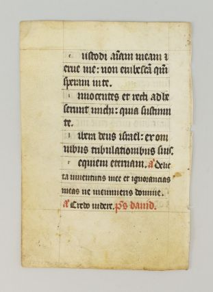 TEXT FROM PSALM 24. FROM A. PSALTER IN LATIN A. MANUSCRIPT LEAF ON VELLUM.