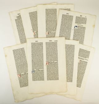 BIBLIA LATINA. TEXT FROM HESTER (ESTHER), JOB, AND JUDITH. INCUNABULAR PRINTED LEAVES, OFFERED...
