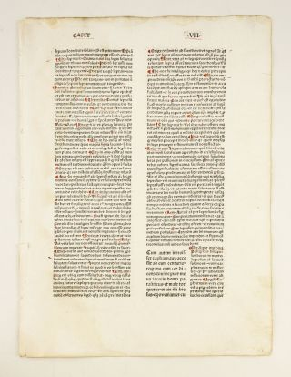 CATENA AUREA SUPER QUATTOR EVANGELISTAS. TEXT DEALING WITH MARK. INCUNABULAR PRINTED LEAF, THOMAS...