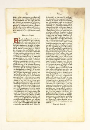 TEXT FROM 2 CHRONICLES. INCUNABULAR PRINTED LEAF, BIBLE IN GERMAN