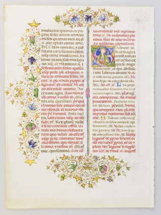TEXT FROM THE SANCTORALE. AN ILLUMINATED MANUSCRIPT LEAF WITH TWO FINE HISTORIATED INITIALS FROM...