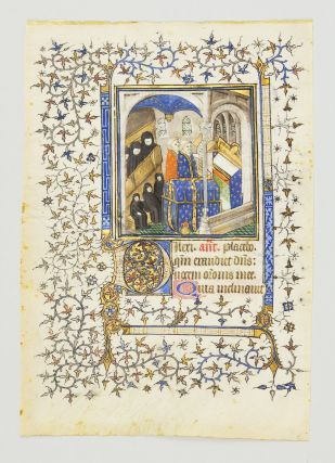 BEGINNING OF THE OFFICE OF THE DEAD. FROM A. BOOK OF HOURS IN LATIN A FINE MINIATURE PAINTING OF...