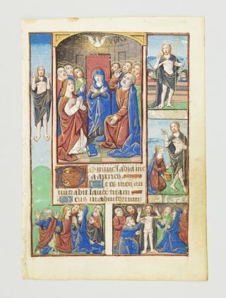 TEXT FROM HOURS OF THE HOLY SPIRIT. WITH FOUR INSET MINIATURES DEPICTING AN ILLUMINATED VELLUM...