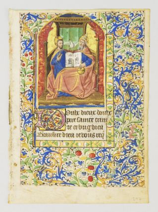 TEXT FROM A PRAYER TO THE TRINITY IN FRENCH. FROM A. BOOK OF HOURS IN FRENCH AND LATIN AN...