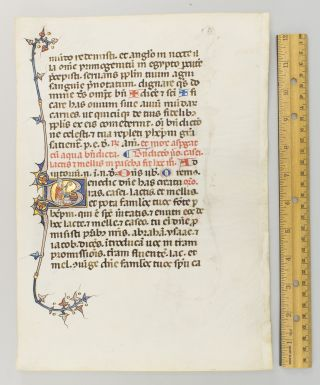 WITH TWO FINE HISTORIATED INITIALS A HANDSOME ILLUMINATED VELLUM MANUSCRIPT LEAF FROM A....