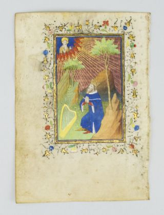WITH A. MINIATURE OF KING DAVID IN PRAYER AN ILLUMINATED VELLUM MANUSCRIPT LEAF FROM A. BOOK OF HOURS.