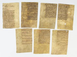 OFFERED INDIVIDUALLY SEVEN 12TH CENTURY NOTED VELLUM MANUSCRIPT FRAGMENTS.