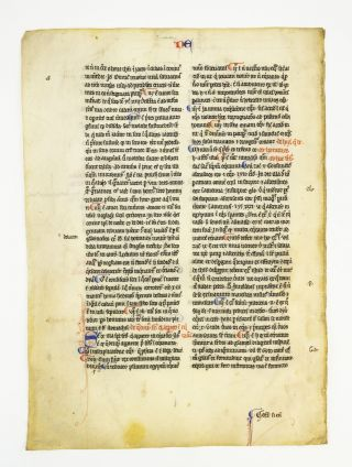 "TEXT FROM ""DE SUPERBIA"" OFFERED INDIVIDUALLY VELLUM MANUSCRIPT LEAVES, FROM PERALDUS' ""SUMMA DE..."