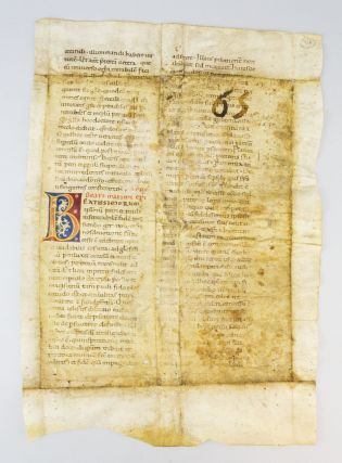 TEXT FROM THE SERMONS OF SAINT MAXIMUS. A LARGE VELLUM MANUSCRIPT LEAF WITH TWO COLORFUL INITIALS