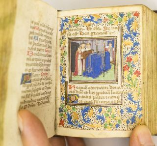 USE OF ROME. WITH CHARMING HISTORIATED INITIALS A MINIATURE ILLUMINATED MANUSCRIPT BOOK OF HOURS...