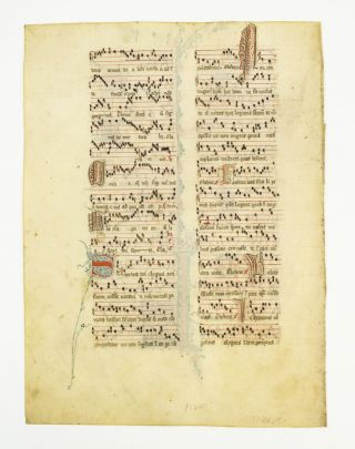 SOLD INDIVIDUALLY VERY ATTRACTIVE VELLUM MANUSCRIPT LEAVES, FROM AN ANTIPHONAL WITH DECORATIVE...