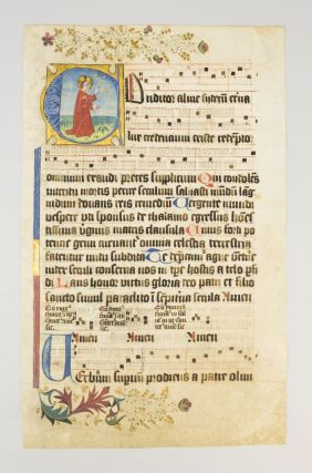 "TEXT FROM BEGINNING OF THE HYMN ""CONDITOR ALME SYDERUM."" WITH AN HISTORIATED INITIAL OF GOD CREATING THE HEAVENS AN ILLUMINATED VELLUM MANUSCRIPT LEAF FROM A. HYMNAL IN LATIN."