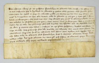AN EARLY 14TH CENTURY ENGLISH VELLUM DOCUMENT IN LATIN.