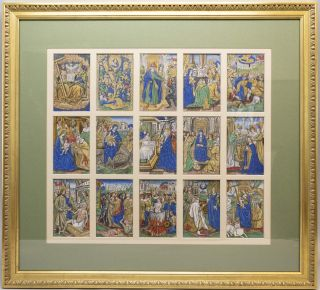 PRINTED BOOK OF HOURS, WITH CONTEMPORARY HAND COLORING A FRAMED ARRAY OF 15 MINIATURES FROM A. PRINTED BOOK OF HOURS ON VELLUM.
